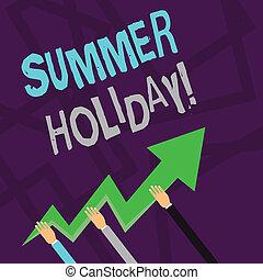 zomer, wijzende, tekst, vakantie, holiday., boven., drie, gaan, vasthouden, foto, conceptueel, vakantie, kleurrijke, seizoen, het tonen, zigzag, breken, handen, gedurende, meldingsbord, school, lightning, richtingwijzer, of