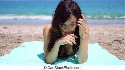 zomer, zalig, vrouw, het genieten van, zon