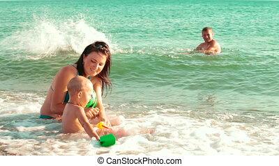 zomer, zet op het strand vakantie, gezin