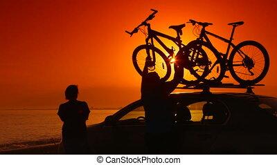 zomer, zijn, auto, vakantie, fietsen, reizigers, gemonteerd, strand