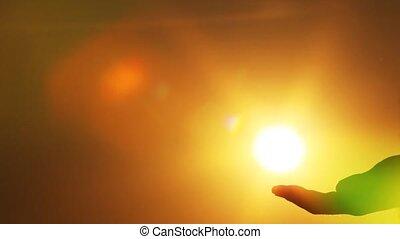 zon, aanrakingen, hand