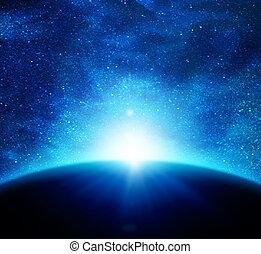 zon, aarde, tegen, ruimte