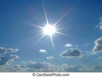 zon, achtergrond., wolken, hemel, hemel