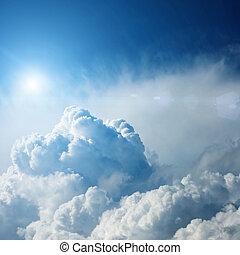 zon, dramatisch, wolken, storm