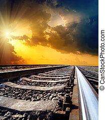zon, hemel, dramatisch, horizon, onder, spoorweg