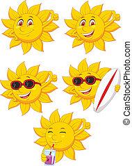zon, karakter, spotprent