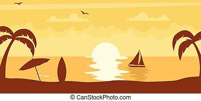zon, ondergaande zon , zomer, achtergrond, strand