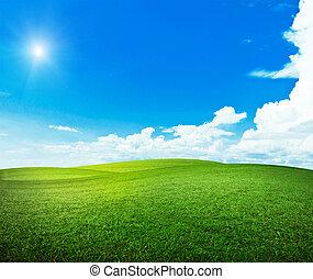 zon, op, heuvels