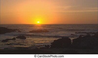 zon, op, vatting, grote oceaan