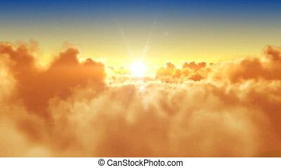 zon, op, vliegen, wolken
