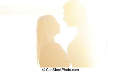 zon, paar, vatting, het koesteren, kussende