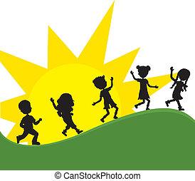zon, silhoeuttes, kinderen, achtergrond