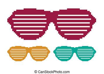 zon stel, pixel, bril