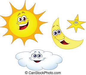 zon, ster, wolk, maan