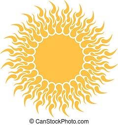 zon, vrijstaand, gele, achtergrond., vorm, witte