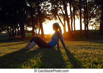 zon, vrouw, vatting, gloed, zittende