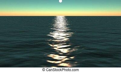 zon, weerspiegelen, ocean.