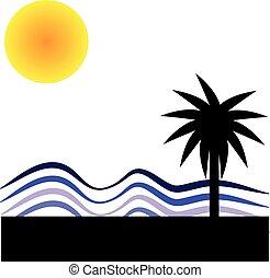 zon, witte , palm, achtergrond