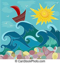 zon, zee, scheepje