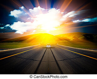zonlicht, boven, road.