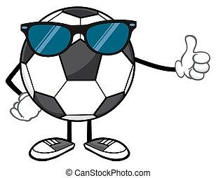 zonnebrillen, bal, voetbal