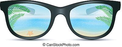 zonnebrillen, zomer, strand, reflectie