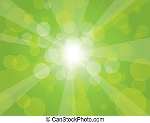zonnestralen, groene achtergrond, illustratie