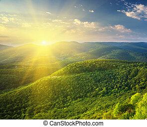 zonnig, mountain., morgen