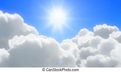 zonnig, wolken, op, vlucht