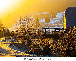 zonopkomst, dorp