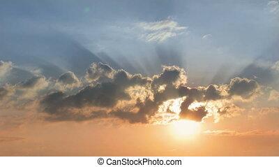 zonopkomst, hemel, clouds.