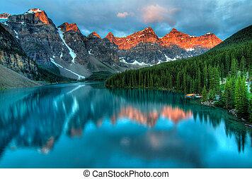 zonopkomst, moraine, landscape, kleurrijke, meer