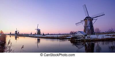 zonopkomst, nederland, windmolen