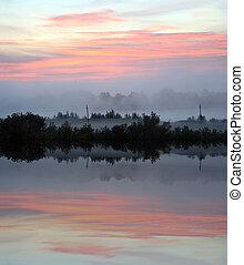 zonopkomst, op, mist, meer, landscape