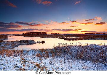 zonopkomst, op, rivier, winter, kleurrijke