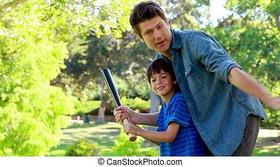 zoon, beoefenen, vader, honkbal