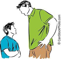 zoon, vader, illustratie