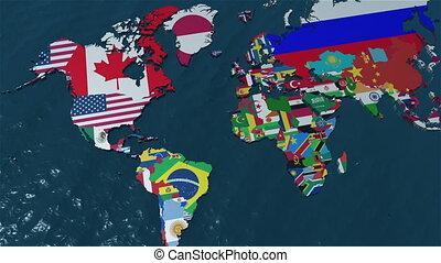 zuid-amerika, wereldkaart, 3d