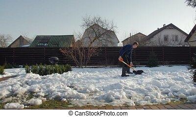 zuiveert, werf, sneeuw man