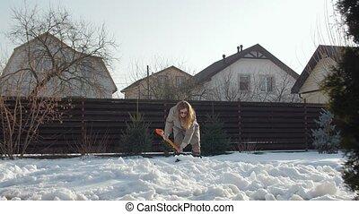 zuiveert, werf, sneeuw, vrouw