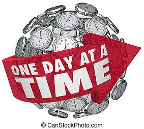 zulk, ongeveer, uitdaging, regelmatig, richtingwijzer, een, bol, clocks, langzaam, woorden, tijd, voorwaarts, verhuizing, verslaving, dag, overwinnen, illustreren