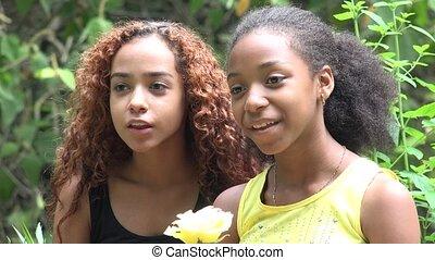 zuster, afrikaan, vrienden lachende, of