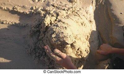 zuster, tieners, broer, tropische , zand, vervaardiging, kasteel strand