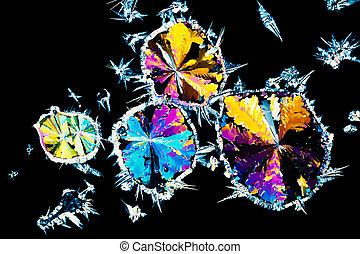 zuur, licht, gepolariseerde, citric, kristallen