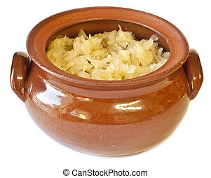 zuurkool, pot, traditionele , zelfgemaakt, klei, gevulde
