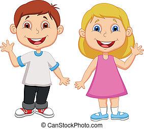 zwaaiende , jongen, meisje, spotprent, hand