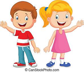 zwaaiende , schattig, kinderen, hand