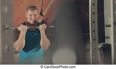 zware, gym, werken, gespierd, barbell, bodybuilder, uit