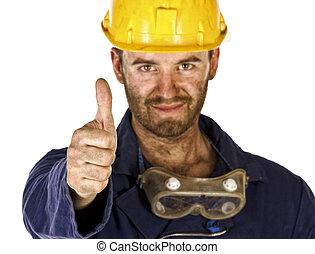 zware, industrie, vertrouwen, arbeider