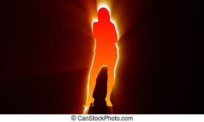 zwarte achtergrond, het zingen, tegen, vrouw, silhouette